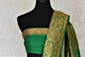 Shop mint green tussar Banarasi sari online in USA with green antique zari border. Keep your ethnic style updated with latest designer saris, handloom sarees, pure silk sarees from Pure Elegance Indian fashion store in USA.-blouse pallu