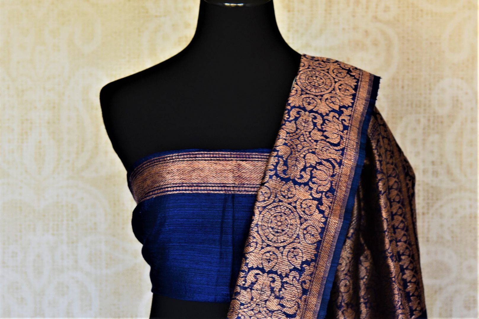 Shop elegant powder blue tussar Benarasi sari online in USA with dark blue antique zari border. Keep your ethnic style updated with latest designer saris, handloom sarees, pure silk sarees from Pure Elegance Indian fashion store in USA.-blouse pallu