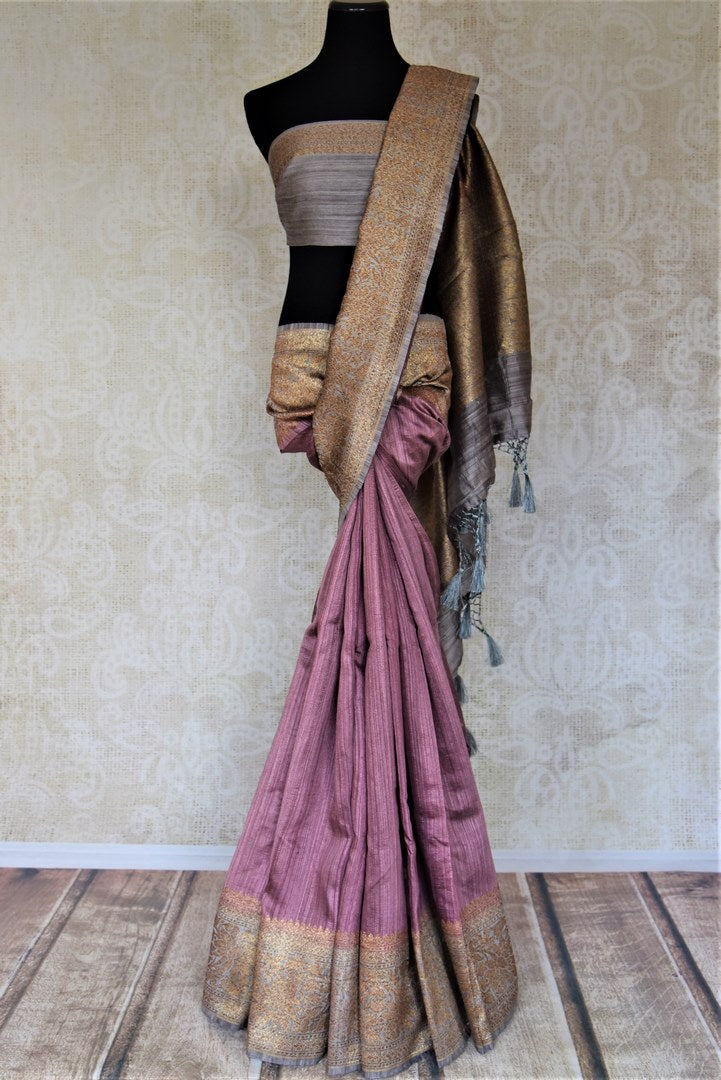 Buy stunning mauve tussar Banarsi saree online in USA with grey antique zari border. Choose tasteful handloom sarees for special occasions from Pure Elegance. Our exclusive Indian fashion store has a myriad of exquisite pure silk saris, tussar sarees, Banarasi sarees for Indian women in USA.-full view