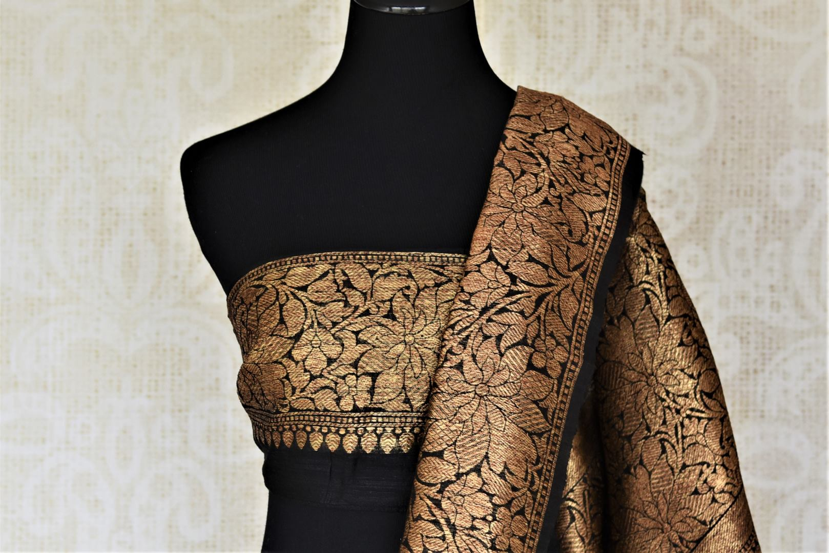 Buy beautiful dark grey tussar Banarasi saree online in USA with antique golden zari border. For Indian women in USA, Pure Elegance Indian fashion store brings an exquisite collection Banarasi sarees, Banarasi silk sarees, tussar sarees, zari work sarees, pure silk sarees all under one roof. Shop online now.-blouse pallu