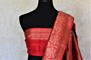 Shop beautiful indigo tussar Benarasi saree online in USA with red antique zari border. Keep your ethnic style updated with latest designer saris, handloom sarees, pure silk sarees from Pure Elegance Indian fashion store in USA.-blouse pallu