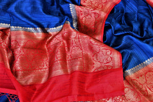 Shop beautiful indigo tussar Benarasi saree online in USA with red antique zari border. Keep your ethnic style updated with latest designer saris, handloom sarees, pure silk sarees from Pure Elegance Indian fashion store in USA.-details