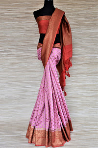 Buy beautiful pink muga Banarasi sari online in USA with red antique zari border. Be an epitome of ethnic Indian fashion with traditional Banarasi sarees, georgette saris from Pure Elegance fashion store in USA.-full view
