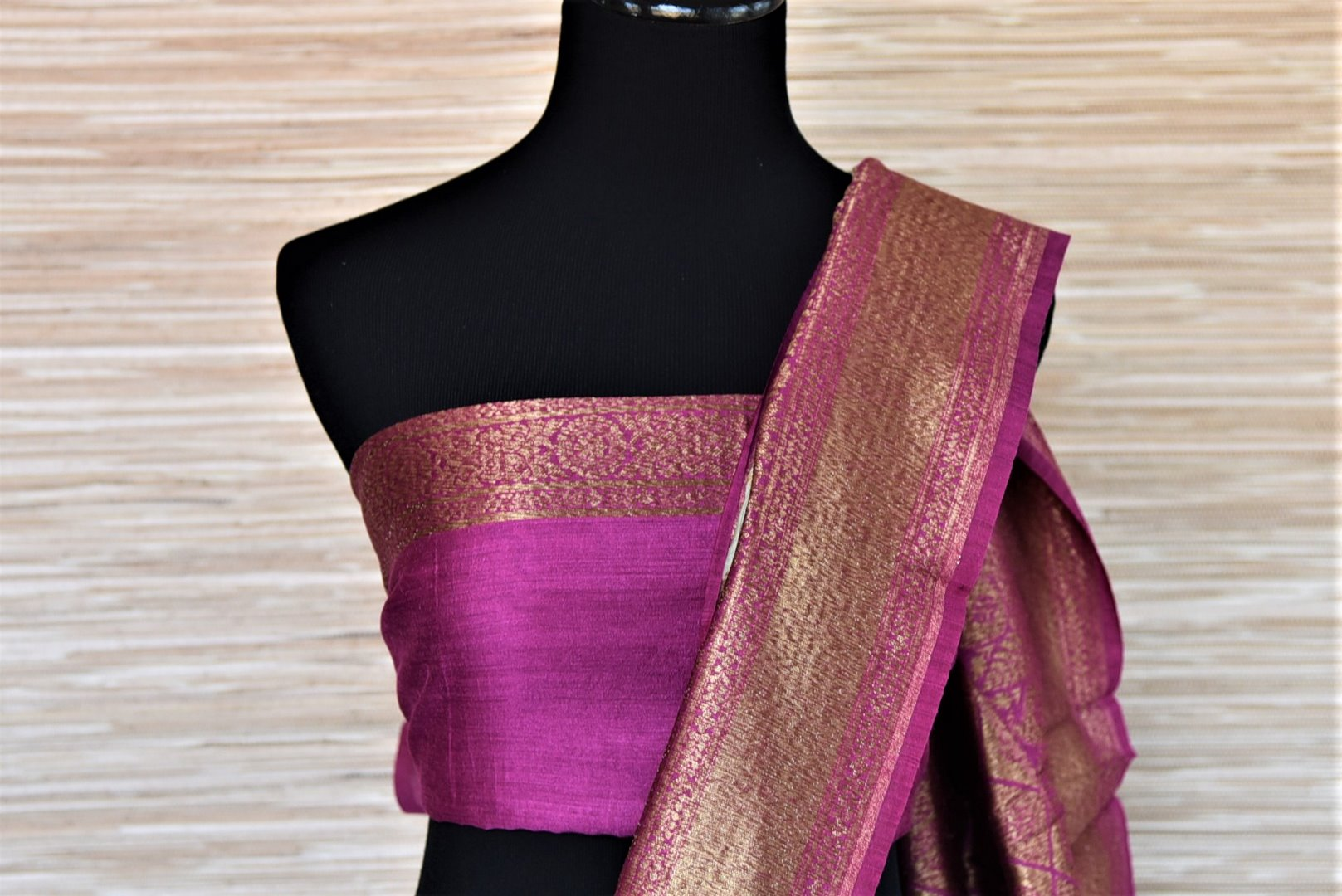 Buy tea green muga silk sari online in USA with purple antique zari border. Be an epitome of ethnic Indian fashion with traditional Banarasi sarees, georgette saris from Pure Elegance fashion store in USA.-blouse pallu