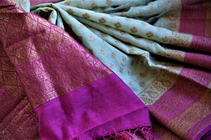Buy tea green muga silk sari online in USA with purple antique zari border. Be an epitome of ethnic Indian fashion with traditional Banarasi sarees, georgette saris from Pure Elegance fashion store in USA.-details