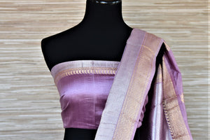 Buy lavender color Banarasi silk saree online in USA with silver golden zari border and buta. Be a vision of tradition and elegance on weddings and festivals with exquisite Banarasi silk sarees, pure silk sarees, handwoven sarees from Pure Elegance Indian clothing store in USA.-blouse pallu