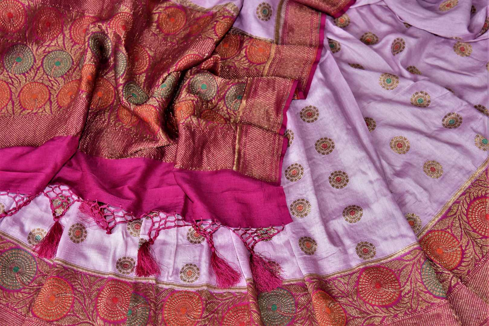 Shop lavender muga Banarasi saree online in USA with magenta antique zari floral border. Keep your ethnic style updated with latest designer sarees, handloom sarees, pure silk sarees from Pure Elegance Indian fashion store in USA.-details