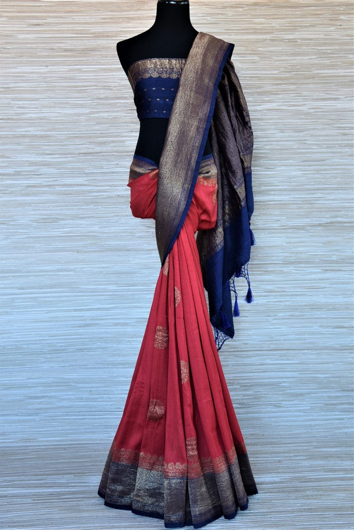 Buy red tussar Banarsi saree online in USA with blue antique zari border. Wear designer sarees, Banarasi sarees, handwoven tussar sarees on special occasions from Pure Elegance Indian clothing store in USA. -full view