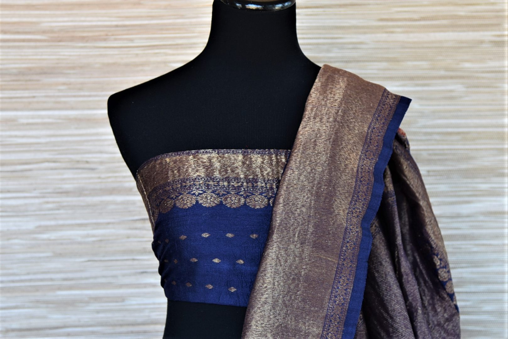 Buy red tussar Banarsi saree online in USA with blue antique zari border. Wear designer sarees, Banarasi sarees, handwoven tussar sarees on special occasions from Pure Elegance Indian clothing store in USA. -blouse pallu