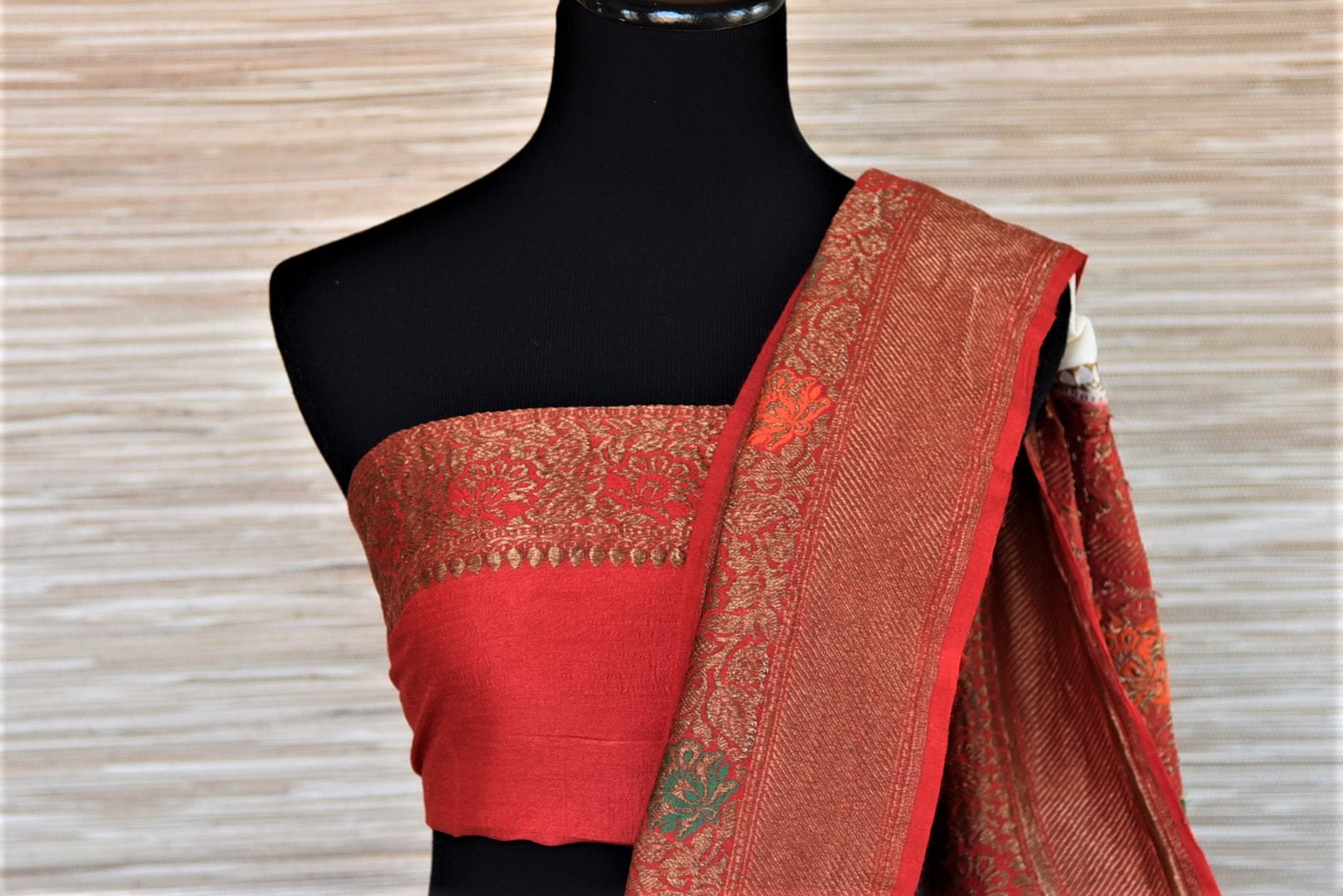 Shop traditional off-white muga Banarasi saree online in USA with antique zari minakari red border and buta. Be a vision of tradition and elegance on weddings and festivals with exquisite Banarasi silk sarees, pure silk sarees, handwoven sarees from Pure Elegance Indian clothing store in USA.-blouse pallu