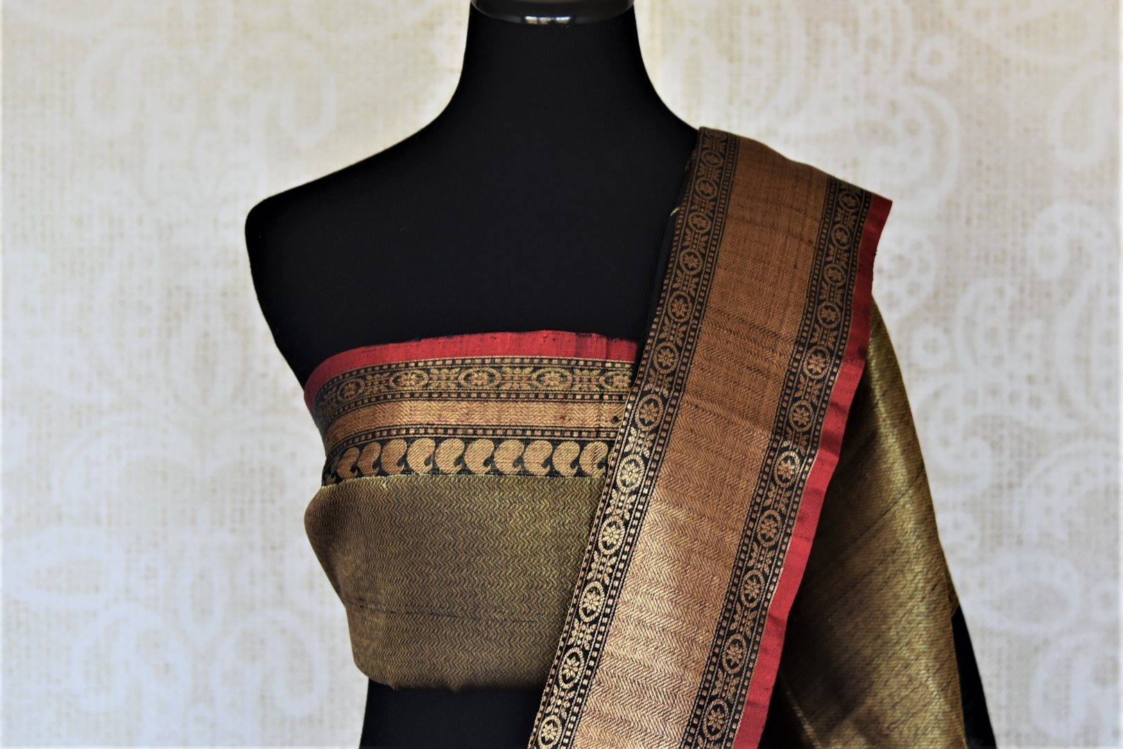 Shop stunning black tassar Banarasi saree online in USA with zari checks and antique zari border. For Indian women in USA, Pure Elegance Indian fashion store brings an exquisite collection Banarasi sarees, Banarasi silk saris, tussar sarees,  work sarees, pure silk sarees all under one roof. Shop online now.-blouse pallu