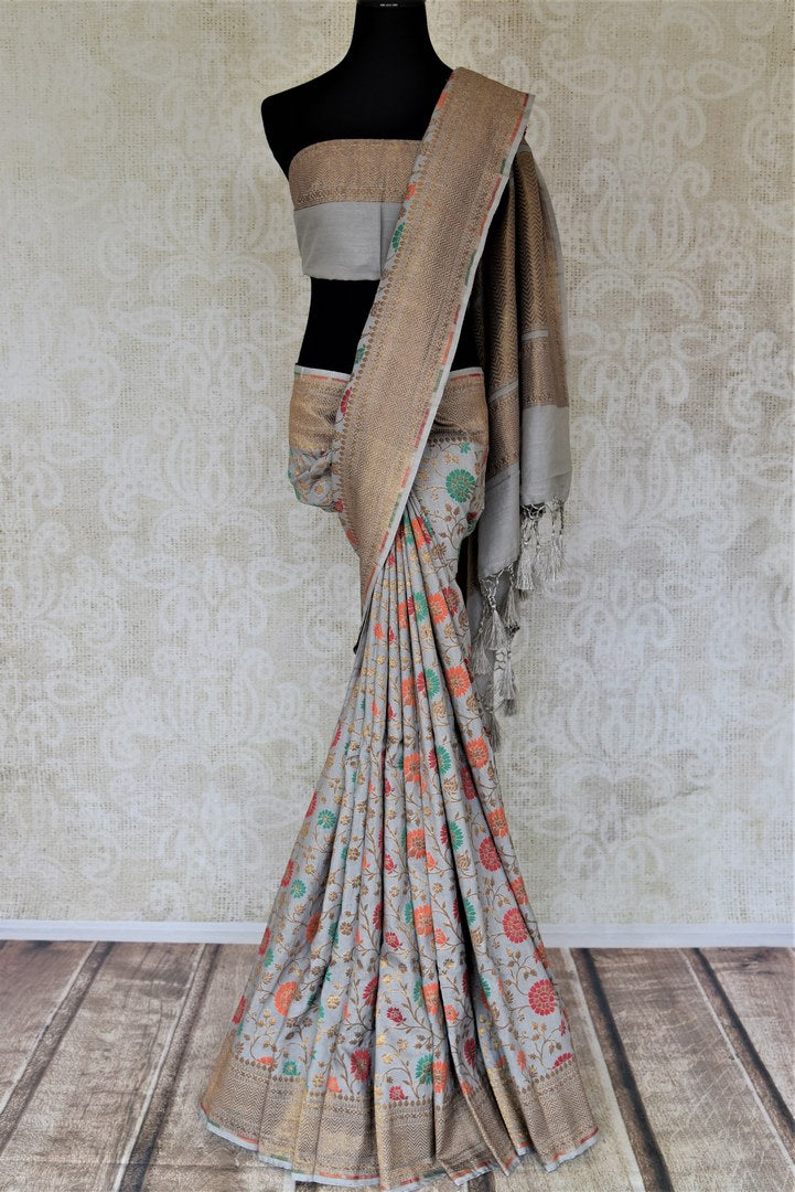 Shop gorgeous light grey minakari weave Banarasi saree online in USA. Keep it light yet festive on special occasions with beautiful handwoven saris, Banarasi sarees from Pure Elegance Indian fashion store in USA.-full view
