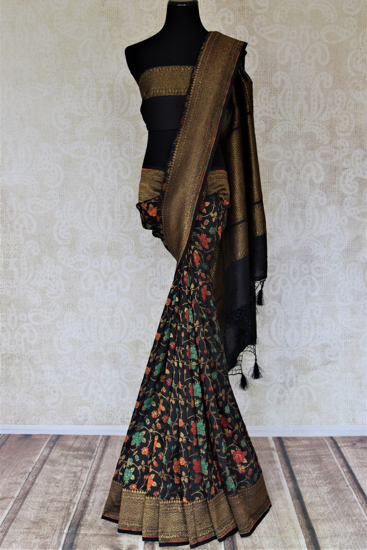 Buy stunning black minakari weave Banarasi sari online in USA with zari work. Keep it light yet festive on special occasions with beautiful handwoven saris, Banarasi sarees from Pure Elegance Indian fashion store in USA.-full view