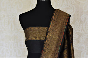 Buy stunning black minakari weave Banarasi sari online in USA with zari work. Keep it light yet festive on special occasions with beautiful handwoven saris, Banarasi sarees from Pure Elegance Indian fashion store in USA.-blouse pallu
