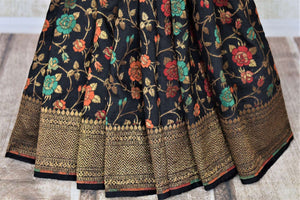 Buy stunning black minakari weave Banarasi sari online in USA with zari work. Keep it light yet festive on special occasions with beautiful handwoven saris, Banarasi sarees from Pure Elegance Indian fashion store in USA.-pleats