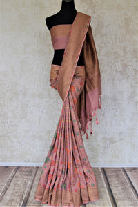 Shop beautiful blush pink minakari weave Banarasi saree online in USA with zari work. Keep it light yet festive on special occasions with beautiful handwoven saris, Banarasi sarees from Pure Elegance Indian fashion store in USA.-full view