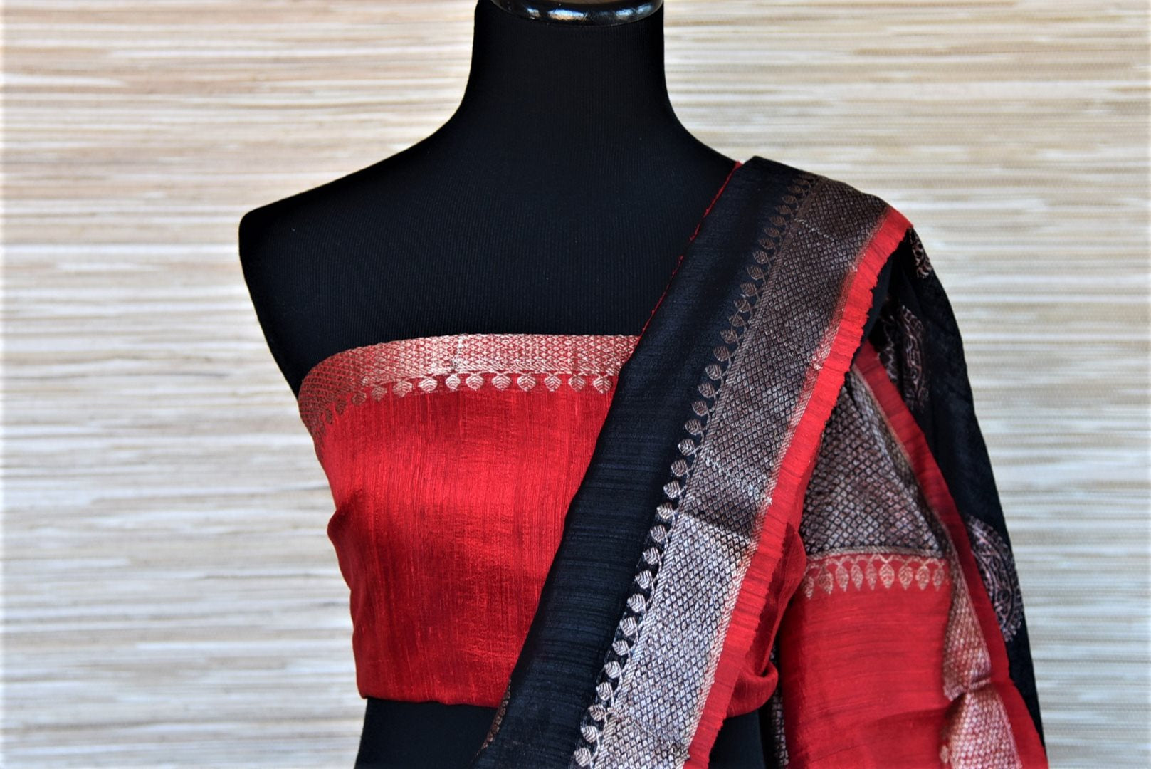 Buy gorgeous black tassar Banarsi saree online in USA with silver zari border and zari buta. Wear designer sarees, Banarasi sarees, handwoven tussar sarees on special occasions from Pure Elegance Indian clothing store in USA. -blouse pallu