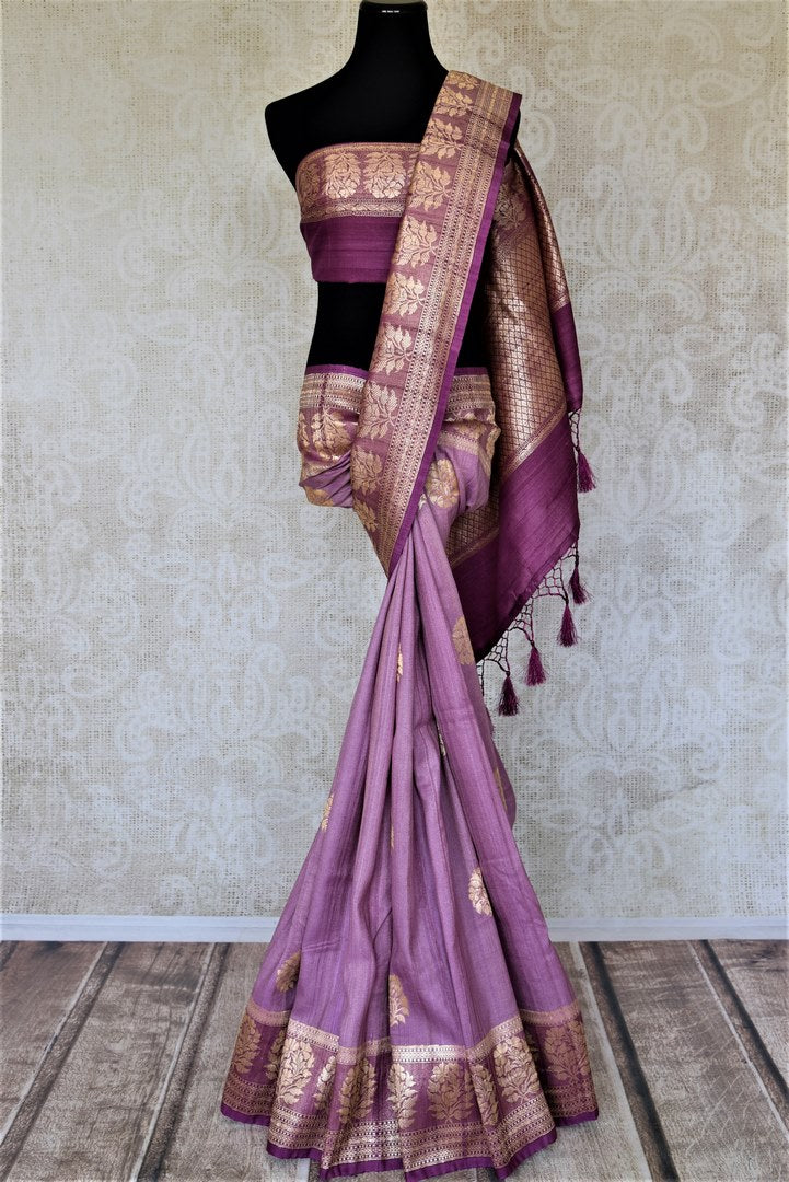 Buy attractive violet tussar Banarasi sari online in USA with floral zari buta border. Be the center of attraction at parties and weddings with beautiful Kanchipuram silk sarees, pure silk sarees, handwoven sarees, Banarasi sarees from Pure Elegance Indian fashion store in USA.-full view