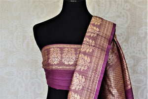 Buy attractive violet tussar Banarasi sari online in USA with floral zari buta border. Be the center of attraction at parties and weddings with beautiful Kanchipuram silk sarees, pure silk sarees, handwoven sarees, Banarasi sarees from Pure Elegance Indian fashion store in USA.-blouse pallu