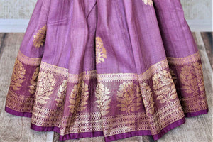Buy attractive violet tussar Banarasi sari online in USA with floral zari buta border. Be the center of attraction at parties and weddings with beautiful Kanchipuram silk sarees, pure silk sarees, handwoven sarees, Banarasi sarees from Pure Elegance Indian fashion store in USA.-pleats