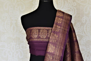 Shop beautiful purple tussar Benarasi saree online in USA with floral zari buta border. Be the center of attraction at parties and weddings with beautiful Banarasi silk sarees, pure silk sarees, handwoven sarees, Banarasi saris from Pure Elegance Indian fashion store in USA.-blouse pallu