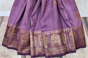 Shop beautiful purple tussar Benarasi saree online in USA with floral zari buta border. Be the center of attraction at parties and weddings with beautiful Banarasi silk sarees, pure silk sarees, handwoven sarees, Banarasi saris from Pure Elegance Indian fashion store in USA.-pleats