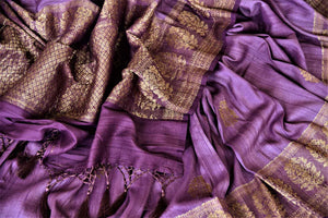 Shop beautiful purple tussar Benarasi saree online in USA with floral zari buta border. Be the center of attraction at parties and weddings with beautiful Banarasi silk sarees, pure silk sarees, handwoven sarees, Banarasi saris from Pure Elegance Indian fashion store in USA.-details