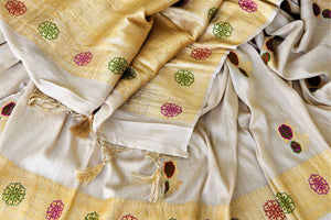 Buy beautiul cream tussar Banarsi saree online in USA with rose minakari zari buta. Be the center of attraction at weddings and parties with beautiful silk sarees, tussar sarees, embroidered sarees, partywear sarees, fancy sarees from Pure Elegance Indian fashion store in USA. -details
