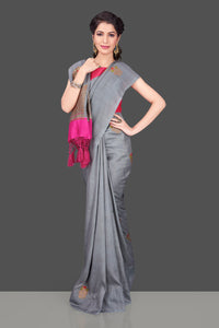 Shop lovely grey borderless muga Banarasi sari online in USA with antique zari buta. Shop beautiful Banarasi sarees, georgette sarees, pure muga silk sarees in USA from Pure Elegance Indian fashion boutique in USA. Get spoiled for choices with a splendid variety of Indian saris to choose from! Shop now.-full view