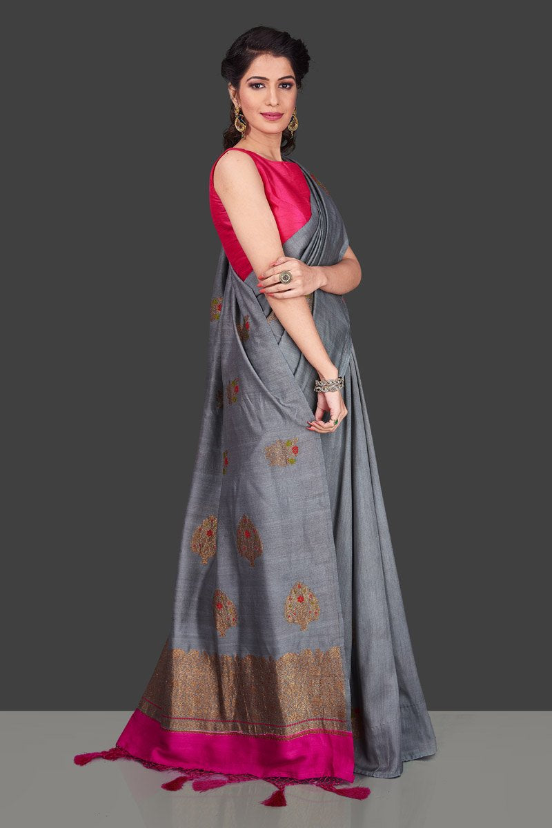 Shop lovely grey borderless muga Banarasi sari online in USA with antique zari buta. Shop beautiful Banarasi sarees, georgette sarees, pure muga silk sarees in USA from Pure Elegance Indian fashion boutique in USA. Get spoiled for choices with a splendid variety of Indian saris to choose from! Shop now.-side