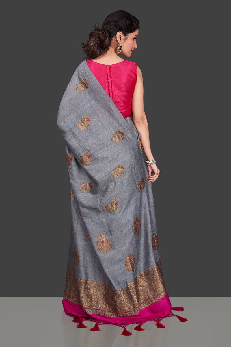 Shop lovely grey borderless muga Banarasi sari online in USA with antique zari buta. Shop beautiful Banarasi sarees, georgette sarees, pure muga silk sarees in USA from Pure Elegance Indian fashion boutique in USA. Get spoiled for choices with a splendid variety of Indian saris to choose from! Shop now.-back