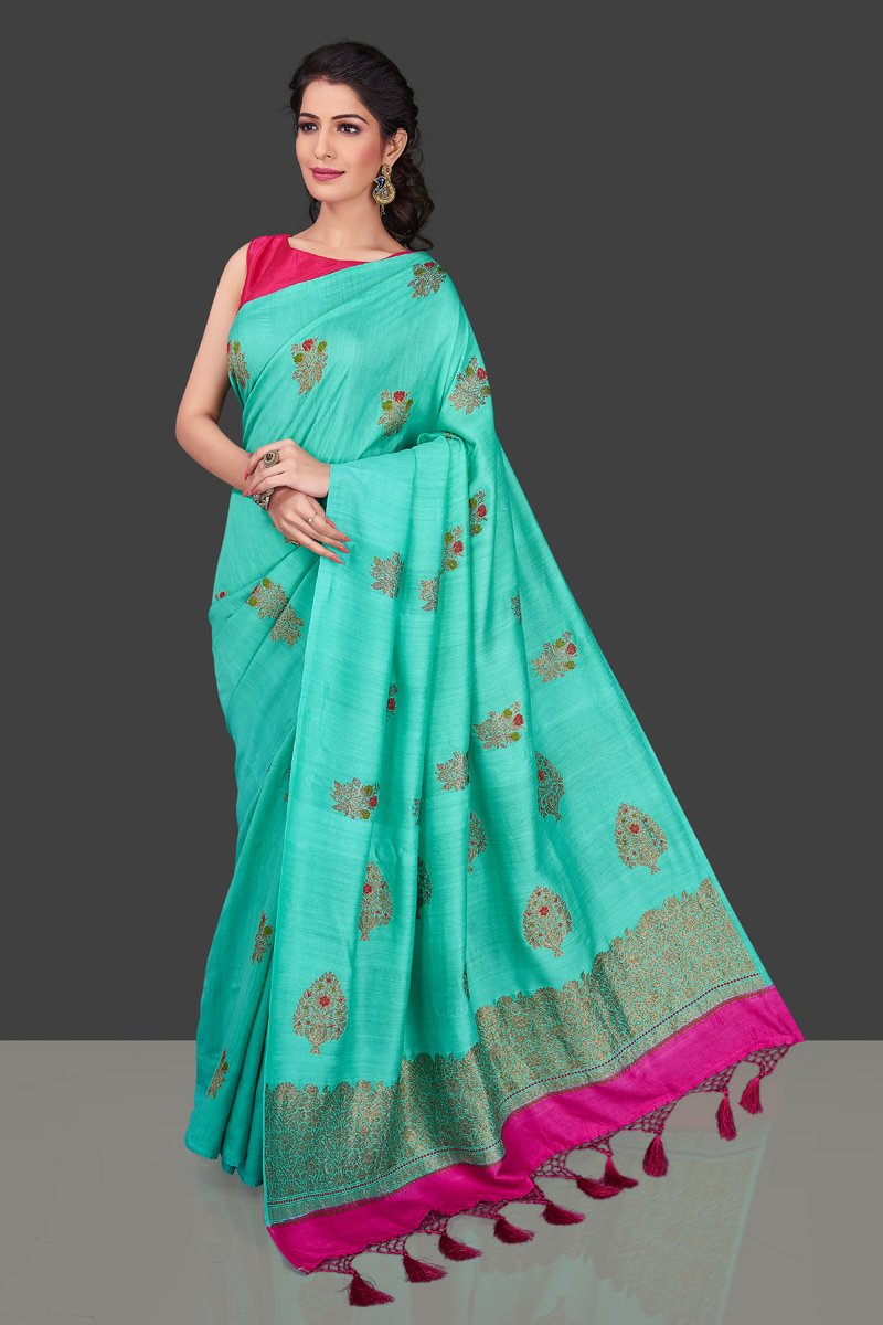 Buy stunning sea green muga Banarasi sari online in USA with zari buta. Shop beautiful Banarasi sarees, georgette sarees, pure muga silk sarees in USA from Pure Elegance Indian fashion boutique in USA. Get spoiled for choices with a splendid variety of Indian saris to choose from! Shop now.-full view