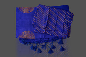 Shop attractive indigo blue borderless muga Banarasi saree online in USA with big zari buta. Shop beautiful Banarasi sarees, georgette sarees, pure muga silk sarees in USA from Pure Elegance Indian fashion boutique in USA. Get spoiled for choices with a splendid variety of Indian saris to choose from! Shop now.-blouse
