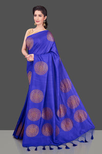 Shop attractive indigo blue borderless muga Banarasi saree online in USA with big zari buta. Shop beautiful Banarasi sarees, georgette sarees, pure muga silk sarees in USA from Pure Elegance Indian fashion boutique in USA. Get spoiled for choices with a splendid variety of Indian saris to choose from! Shop now.-full view