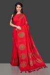 Shop stunning red borderless muga Banarasi sari online in USA with big antique zari buta. Shop beautiful Banarasi sarees, georgette sarees, pure muga silk sarees in USA from Pure Elegance Indian fashion boutique in USA. Get spoiled for choices with a splendid variety of Indian saris to choose from! Shop now.-full view