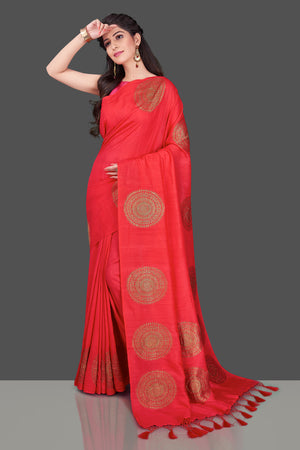 Shop stunning red borderless muga Banarasi sari online in USA with big antique zari buta. Shop beautiful Banarasi sarees, georgette sarees, pure muga silk sarees in USA from Pure Elegance Indian fashion boutique in USA. Get spoiled for choices with a splendid variety of Indian saris to choose from! Shop now.-front