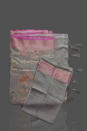 Shop gorgeous light grey georgette Banarasi saree online in USA with floral zari jaal. Shop beautiful Banarasi sarees, georgette sarees, pure muga silk sarees in USA from Pure Elegance Indian fashion boutique in USA. Get spoiled for choices with a splendid variety of Indian saris to choose from! Shop now.-details