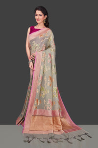 Shop gorgeous light grey georgette Banarasi saree online in USA with floral zari jaal. Shop beautiful Banarasi sarees, georgette sarees, pure muga silk sarees in USA from Pure Elegance Indian fashion boutique in USA. Get spoiled for choices with a splendid variety of Indian saris to choose from! Shop now.-full view