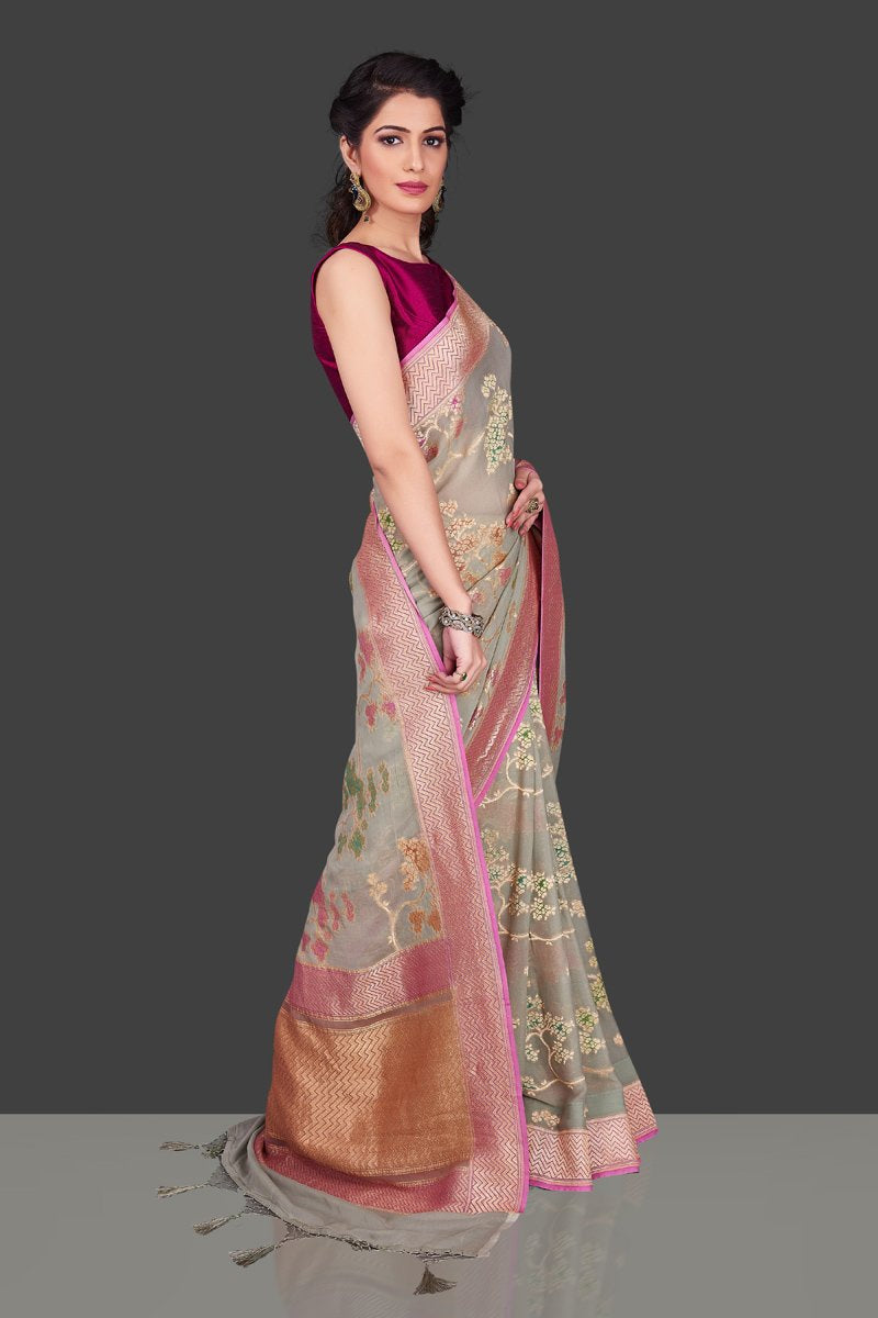 Shop gorgeous light grey georgette Banarasi saree online in USA with floral zari jaal. Shop beautiful Banarasi sarees, georgette sarees, pure muga silk sarees in USA from Pure Elegance Indian fashion boutique in USA. Get spoiled for choices with a splendid variety of Indian saris to choose from! Shop now.-side