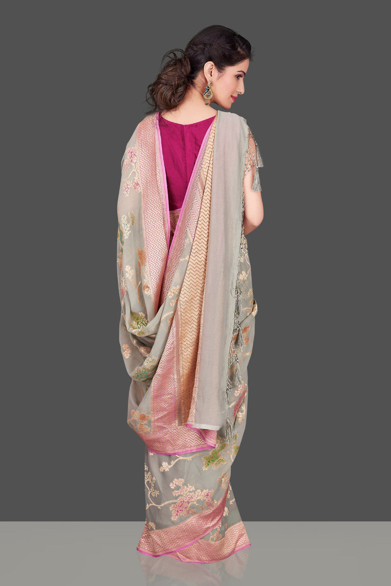 Shop gorgeous light grey georgette Banarasi saree online in USA with floral zari jaal. Shop beautiful Banarasi sarees, georgette sarees, pure muga silk sarees in USA from Pure Elegance Indian fashion boutique in USA. Get spoiled for choices with a splendid variety of Indian saris to choose from! Shop now.-back