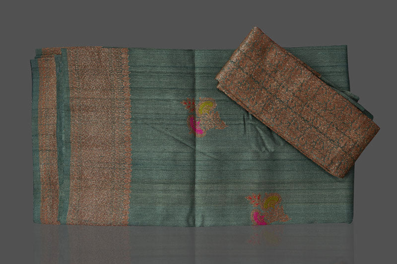 Shop elegant green tussar Banarasi sari online in USA with antique zari minakari buta. Shop beautiful Banarasi sarees, tussar sarees, pure muga silk sarees in USA from Pure Elegance Indian fashion boutique in USA. Get spoiled for choices with a splendid variety of Indian saris to choose from! Shop now.-details