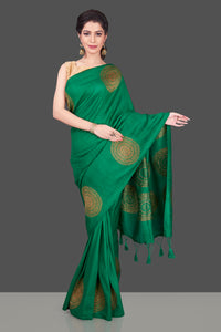 Buy bottle green borderless muga Banarasi sari online in USA with big antique zari buta. Shop beautiful Banarasi sarees, georgette sarees, pure muga silk sarees in USA from Pure Elegance Indian fashion boutique in USA. Get spoiled for choices with a splendid variety of Indian saris to choose from! Shop now.-full view