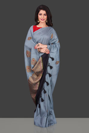 Buy light grey borderless muga Banarasi saree online in USA with floral zari buta. Shop beautiful Banarasi sarees, georgette sarees, pure muga silk sarees in USA from Pure Elegance Indian fashion boutique in USA. Get spoiled for choices with a splendid variety of designer saris to choose from! Shop now.-front