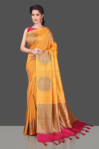 Buy online yellow borderless Banarasi muga saree in USA with big zari buta. Shop beautiful Banarasi sarees, georgette sarees, pure muga silk sarees in USA from Pure Elegance Indian fashion boutique in USA. Get spoiled for choices with a splendid variety of designer saris to choose from! Shop now.-full view