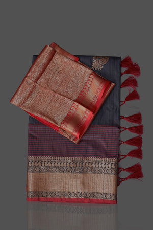 Buy dark grey tussar Banarasi saree online in USA with red zari border. Shop beautiful Banarasi georgette sarees, tussar sarees, pure muga silk sarees in USA from Pure Elegance Indian fashion boutique in USA. Get spoiled for choices with a splendid variety of Indian saris to choose from! Shop now.-details