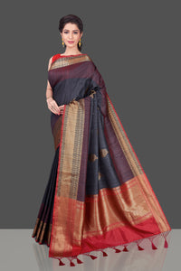 Buy dark grey tussar Banarasi saree online in USA with red zari border. Shop beautiful Banarasi georgette sarees, tussar sarees, pure muga silk sarees in USA from Pure Elegance Indian fashion boutique in USA. Get spoiled for choices with a splendid variety of Indian saris to choose from! Shop now.-full view