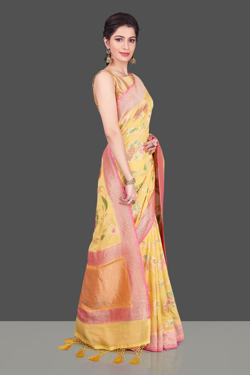 Buy stunning yellow georgette Banarasi sari online in USA with floral zari jaal. Shop beautiful Banarasi georgette sarees, tussar sarees, pure muga silk sarees in USA from Pure Elegance Indian fashion boutique in USA. Get spoiled for choices with a splendid variety of Indian saris to choose from! Shop now.-side