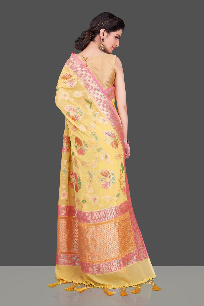 Buy stunning yellow georgette Banarasi sari online in USA with floral zari jaal. Shop beautiful Banarasi georgette sarees, tussar sarees, pure muga silk sarees in USA from Pure Elegance Indian fashion boutique in USA. Get spoiled for choices with a splendid variety of Indian saris to choose from! Shop now.-back