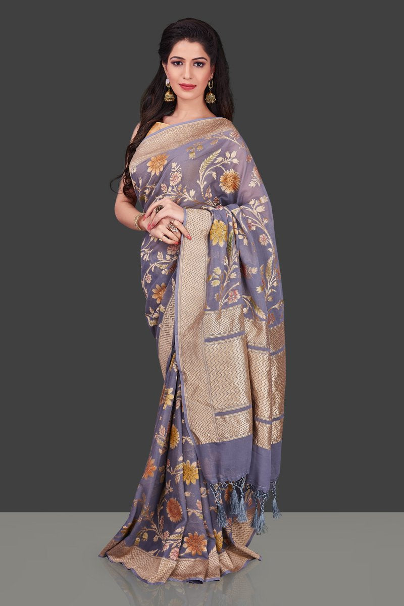 Shop grey georgette Benarasi saree online in USA with floral zari jaal. Shop beautiful Banarasi georgette sarees, tussar sarees, pure muga silk sarees in USA from Pure Elegance Indian fashion boutique in USA. Get spoiled for choices with a splendid variety of Indian sarees to choose from! Shop now.-full view