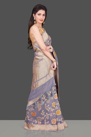 Shop grey georgette Benarasi saree online in USA with floral zari jaal. Shop beautiful Banarasi georgette sarees, tussar sarees, pure muga silk sarees in USA from Pure Elegance Indian fashion boutique in USA. Get spoiled for choices with a splendid variety of Indian sarees to choose from! Shop now.-side